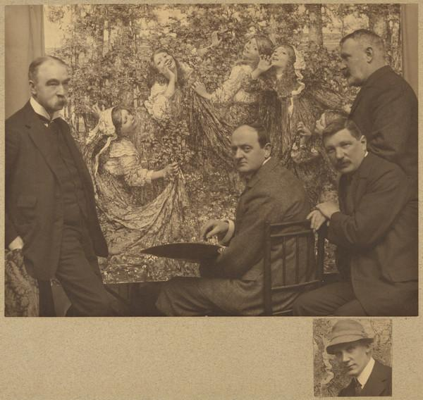 Group of Glasgow Painters including E.A. Hornel with a small photograph of James Craig Annan at the bottom