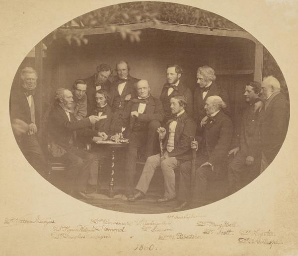Group including Sir Douglas Mclagan, 1812 - 1900, Sir James Dunsmure, Dr J. Simson, Sir Patrick Heron Watson, Dr Watson Menzies, Dr Omand, Dr... (1860)