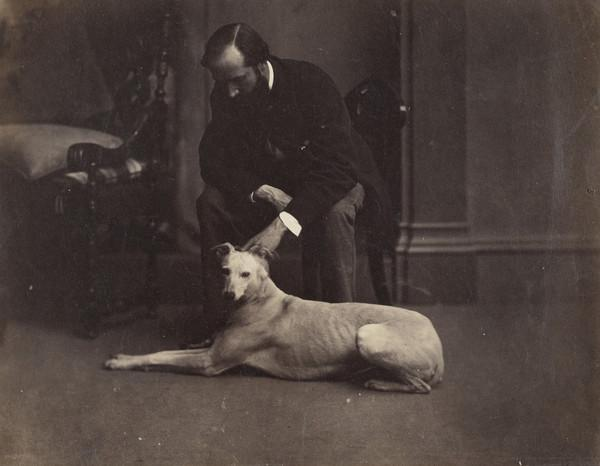 John Adamson's Dog, Blanche (with Dr. Oswald Home Bell, 1835 - 1875, in the background) (About 1855)