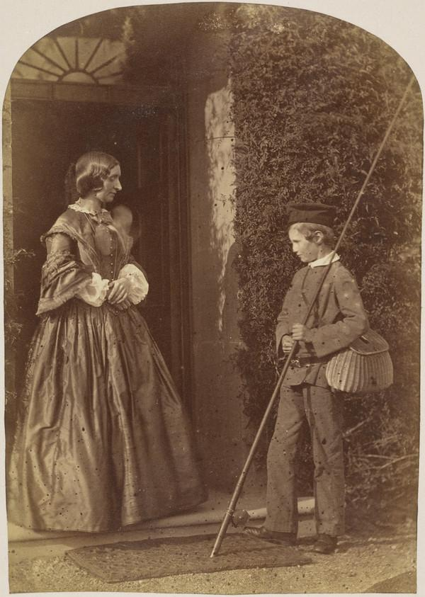 Woman and boy with fishing rod by doorway (1860)