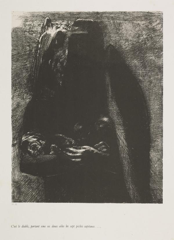 'The Temptation of Saint Anthony'. 'C'est le diable, portant sous des deux ailes les sept peches capitaux' (Plate II) (Published 1888)