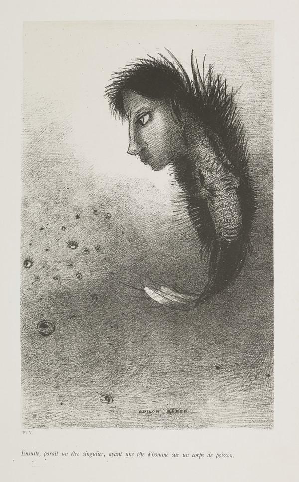 'The Temptation of Saint Anthony'. 'Ensuite, paraît un être singulier, ayant une tête d'homme sur un corps de poisson' (Plate V) (Published 1888)