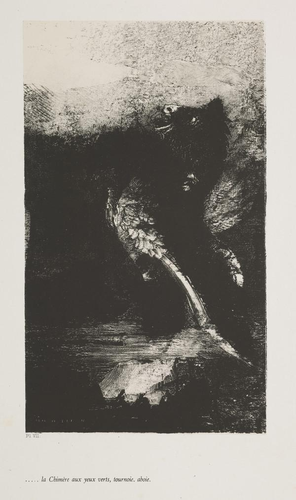 'The Temptation of Saint Anthony'. 'La Chimère aux yeux verts, tournoie, aboie' (Plate VII) (Published 1888)
