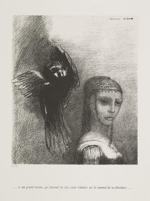 'The Temptation of Saint Anthony'. 'Et un grand oiseau qui descend du ciel, vient s'abattre sur le sommet de chevelure' (Plate III) (Published 1888)