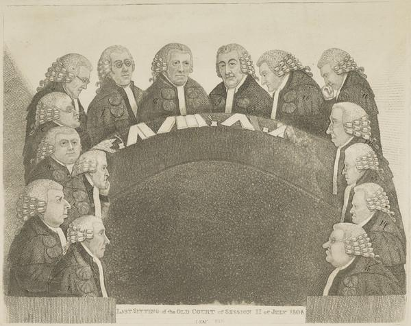 "George Fergusson, Lord Hermand, d. 1827. Judge. [""Last Sitting of the Old Court of Session"" - GROUP] (Published 1838)"