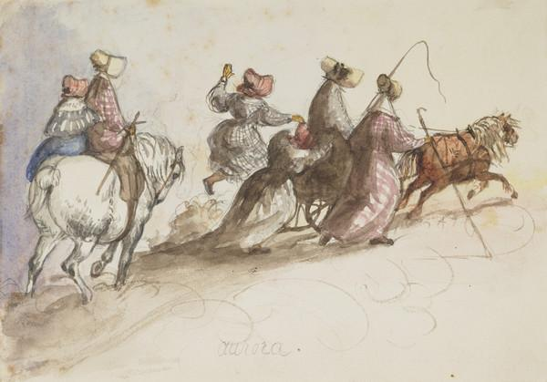 Party accompanying pony chair on road to Cannee. Lady Katherine Douglas and Jemima Wedderburn on Talavera. The Countess of Selkirk in chair, pony... (Dated Oct. 14th 1837)