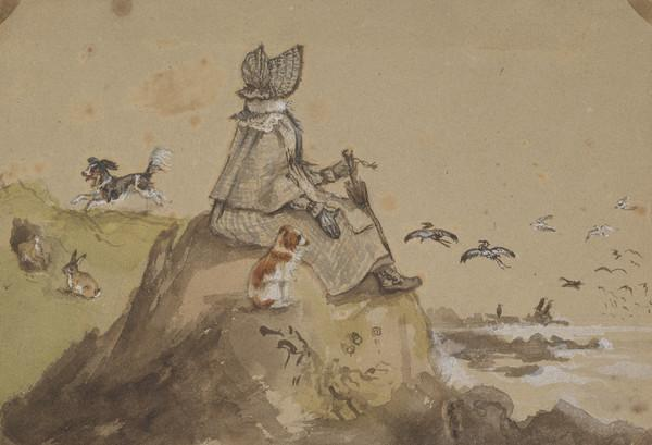 Mrs Wedderburn sitting on rocks at point of the Isle (Dated September 1837)