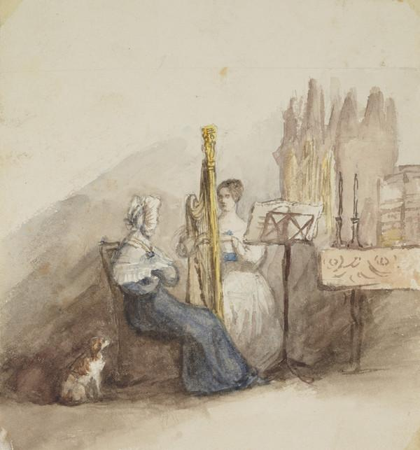 Miss Jeanette Wood (daughter of Sheriff Wood, afterwards Lord Wood) playing harp; the Countess of Selkirk listening (Dated 1837)