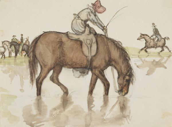Riding party. Jemima Wedderburn's horse would go into the water and drink