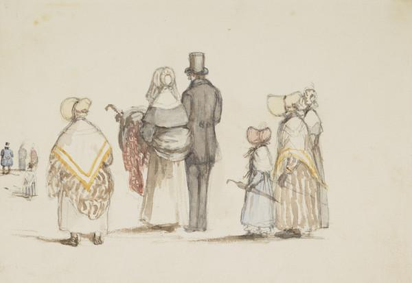 Walking to church, 8th Oct 1837. Anton Milligan and maids in front, Isabella Wedderburn, Lady Isabella Douglas, the Earl of Selkirk, Jemima... (Dated 8th Oct. 1837)