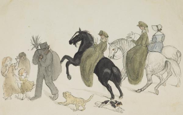 Riders. Lady Isabella and Lady Katherine Douglas and Isabella Wedderburn. Horse frightened at a sweep (Dated 1837)