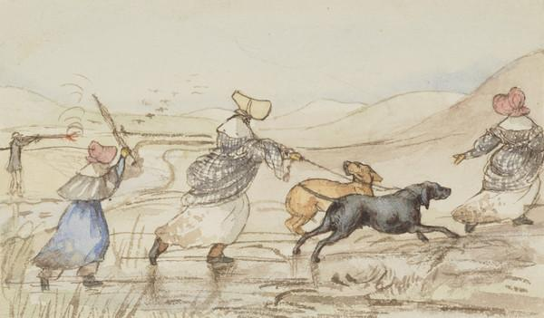 Shooting scene at Corsock. Mr Clerk Maxwell, Jemima, Jane and Isabella Wedderburn with dogs (Dated Nov. 1837)