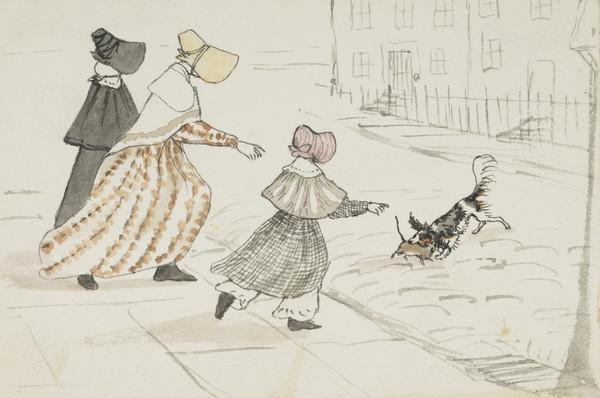Dog killing a rat in a street in Edinburgh. Mrs Wedderburn and her daughters, Jane and Jemima