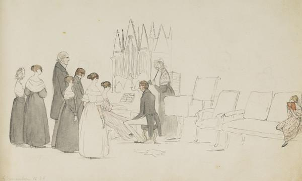 Lady Isabella Douglas playing on the organ. The Earl of Selkirk blowing. The Countess of Selkirk with ear trumpet. Mrs Wedderburn, Mr MacMillan ... (Dated 6 November 1838)