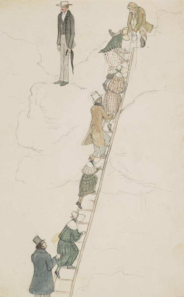 Party coming up ladder from Barlocco caves. The Earl of Selkirk standing at top, Mr Macartney holding the ladder, Lady Katherine Douglas, Mrs... (Dated 1838)