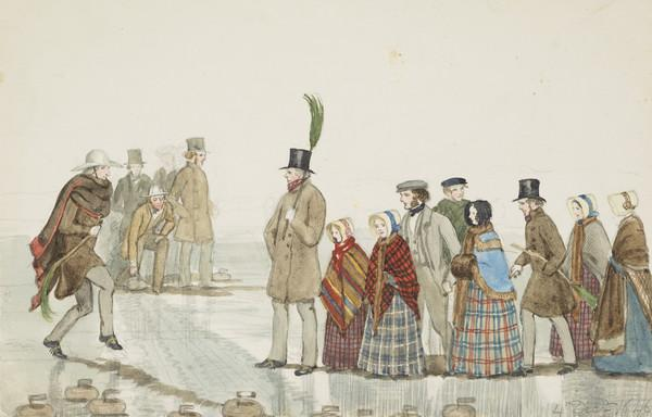 Curling, Whinnieliggat pond. The Earl of Selkirk playing, Mr Mure beside him. Mr Cumming Bruce dancing, Col. Oswald (Dunniker), Jemima Wedderburn... (Dated 4th Dec. 1846)