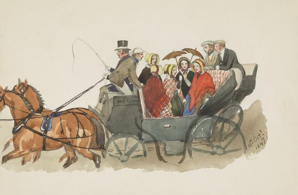 Party singing in carriage. Mrs Andrew Wedderburn, Isabella Blackburn, Lady Katherine Douglas, Jemima Wedderburn, Fanny Newdigate in the middle.... (Dated 15th Octr 1847)
