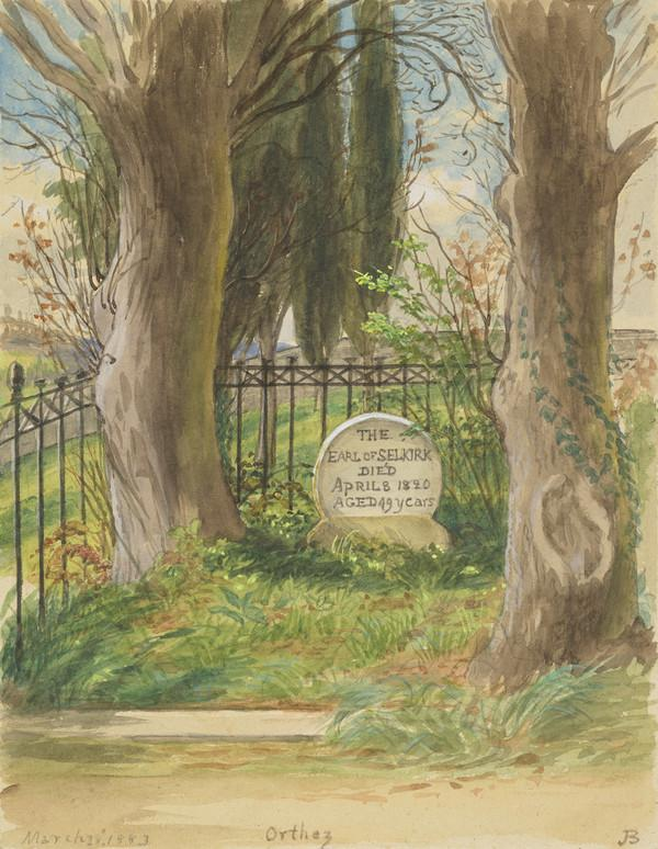 Sketch by Mrs Hugh Blackburn of the grave of Thomas, 5th Earl of Selkirk, who died at Pau, on the 8th of April 1820 and was buried in the... (Dated March 28th 1883)