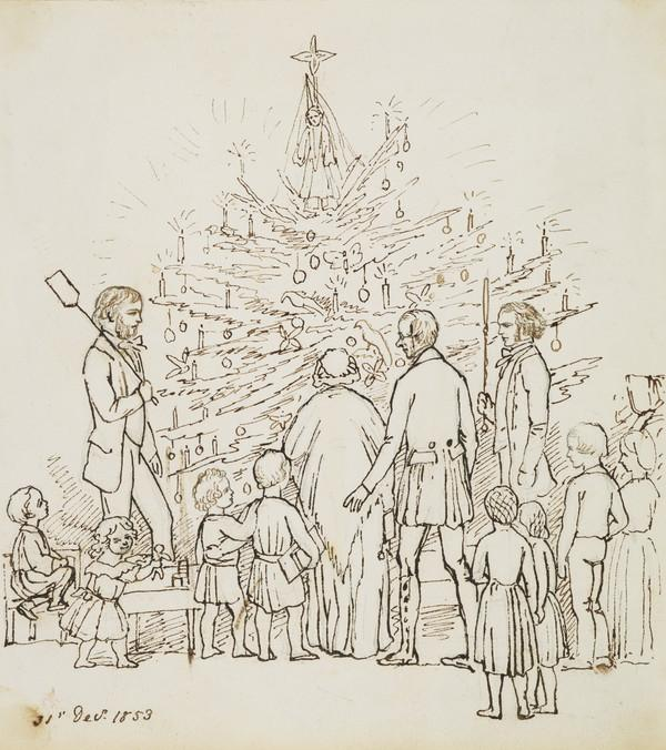 Christmas tree. The Earl of Selkirk, the Countess of Selkirk, Mr Carnegie with poker. Mr Hugh Blackburn with shovel, James Douglas and Isabel... (Dated 31st Decr. 1853)
