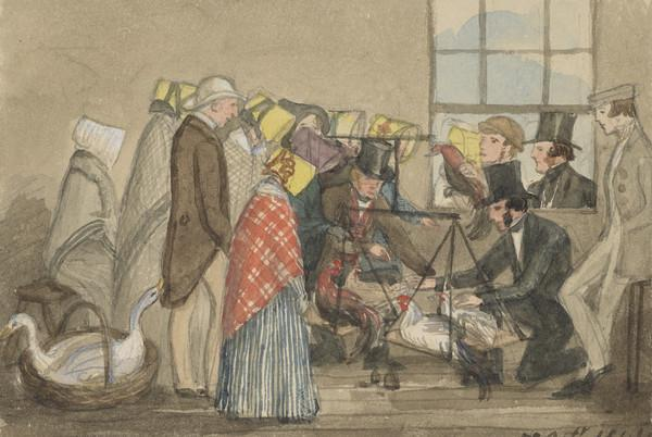 Poultry show at Townhead school. The Countess of Selkirk, Lady Sherbrooke, General Irving and Jemima Wedderburn standing. Mrs Wedderburn sitting,... (Dated 5th Oct. 1844)