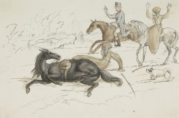 Incident on ride as it really happened. Riders probably Lady Katherine Douglas and one of the Wedderburns (Dated 1837)