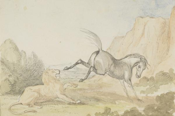 Fancy picture (horse kicking a lion) (Dated 1837)