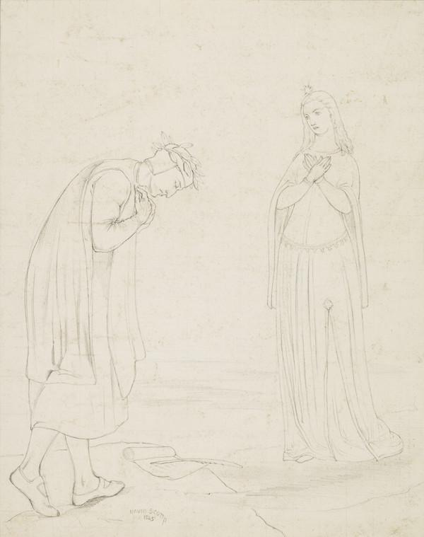 Dante and Beatrice. Copy after the Painting by David Scott (After 1845)
