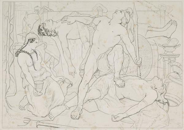 Achilles Addressing the Manes of Patroclus, after Having Revenged his Death on Hector ... Illiad, Book 23 XXIII. Copy after the Painting by David... (1838)