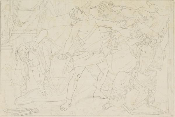 Orestes Seized by the Furies after the Murder of his Mother, Clytemnestra ... Vide the Eumenides of Aeschylus. Copy after the Painting by David... (About 1838)