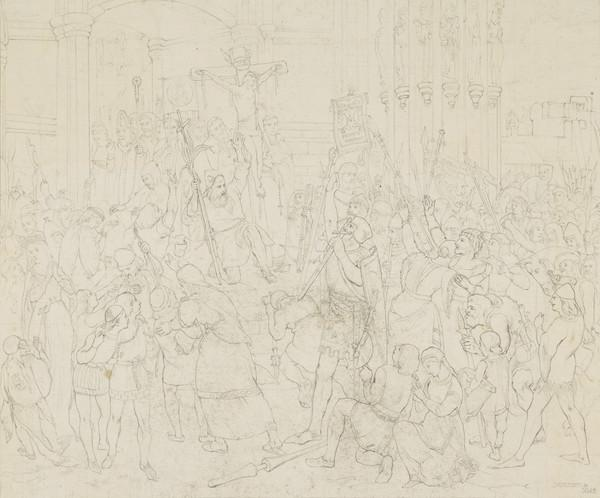 Peter the Hermit Preaching the Crusades. Copy after the Painting by David Scott (After 1845)