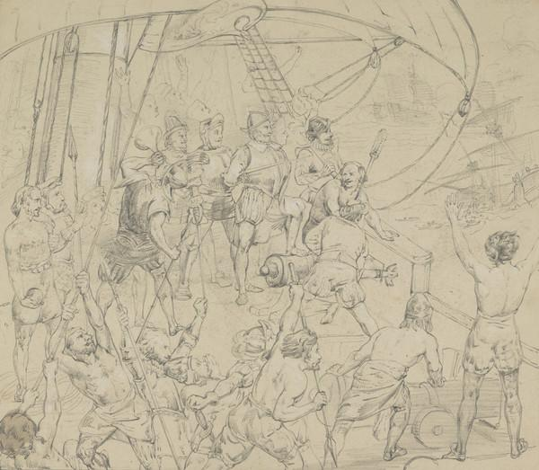 Study for the Painting 'Drake on the Quarter Deck: Witnessing the Destruction of the Spanish Armada'. (About 1842)