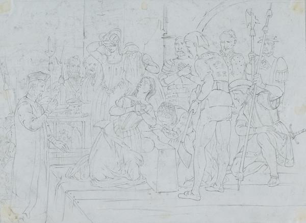 Study for the Painting 'Queen Mary of Scotland at the Place of Execution' (About 1847)