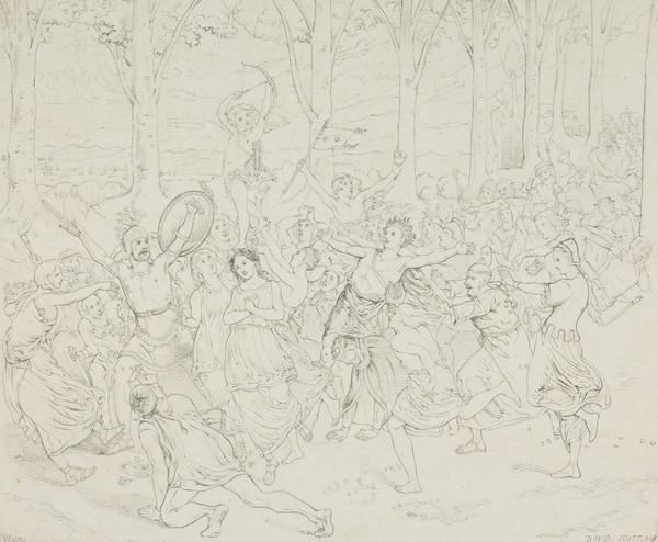 The Triumph of Love - Cupid, Borne by Three Nymphs as on a Tripod. Copy after the Painting by David Scott (About 1846)