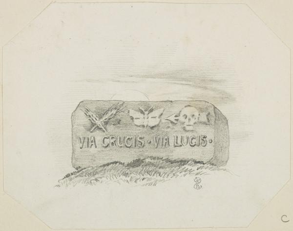 Tombstone with Epitaph 'Via Crucis Via Lucis' (About 1849)