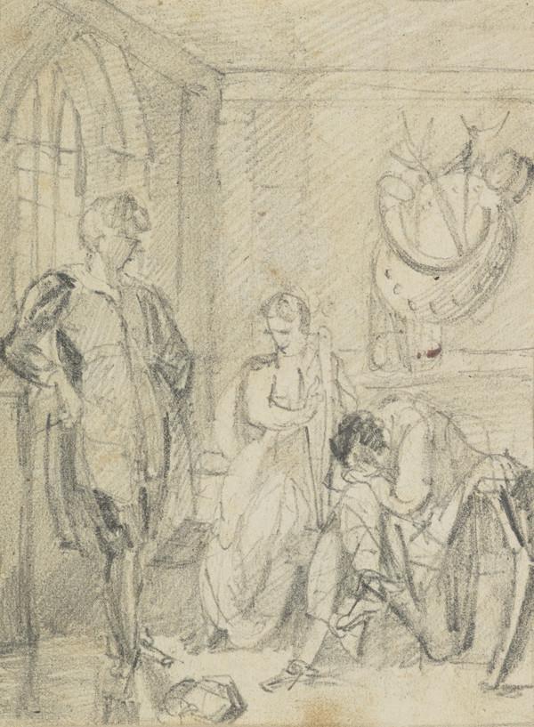 Interior Scene with Three Figures in Historical Costume
