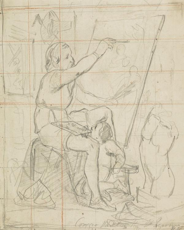 Study for the Painting 'Correggio Painting the Saint Jerome' (About 1843)