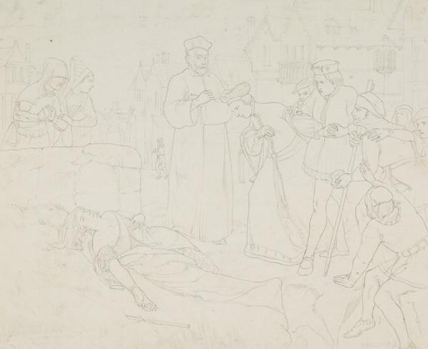 The Death of Jane Shore. Copy after David Scott