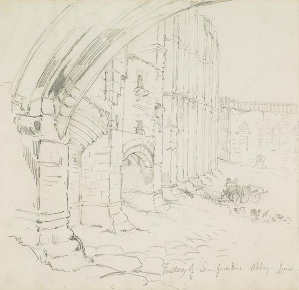 View of Dunfermline Abbey [Verso: Wallace's Oak at Ellersley] (Dated June 1830 (verso inscribed August 1829))