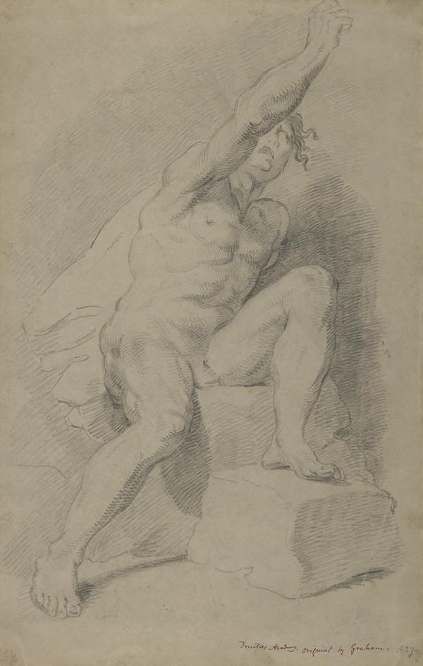 Academic Drawing of a Male Nude. Copy after a Drawing by John Graham, Trustees Academy (Dated 1827)