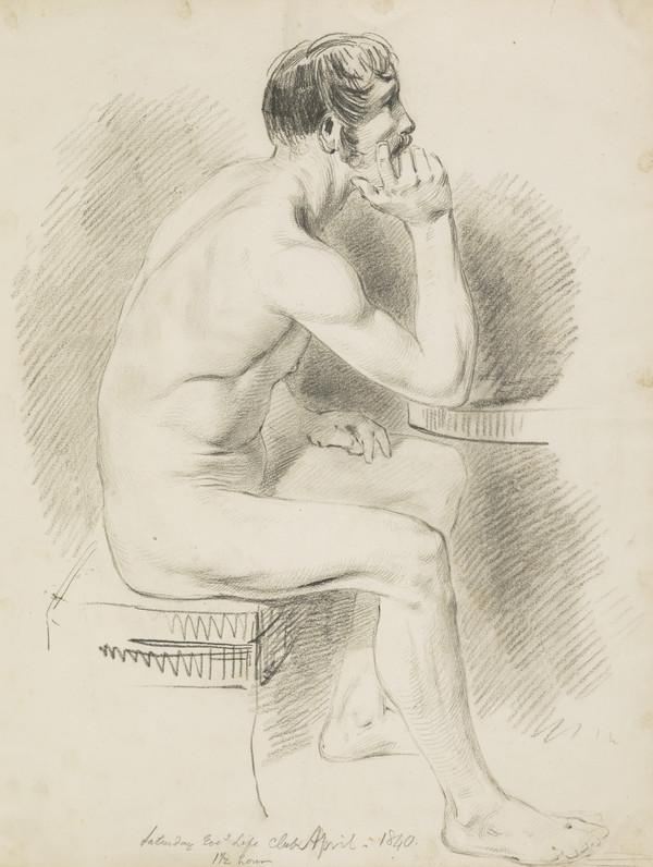 Academic Drawing of a Male Nude (Dated April 1840)