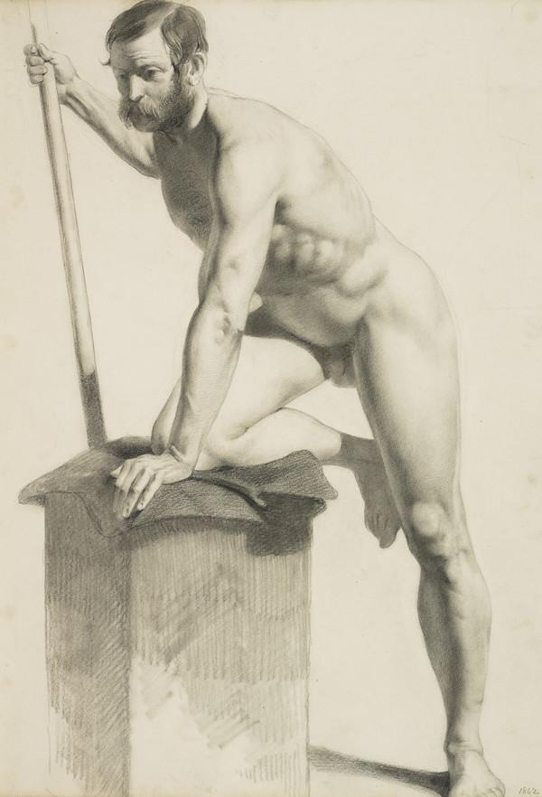 Academic Drawing of a Male Nude (Dated 1842)