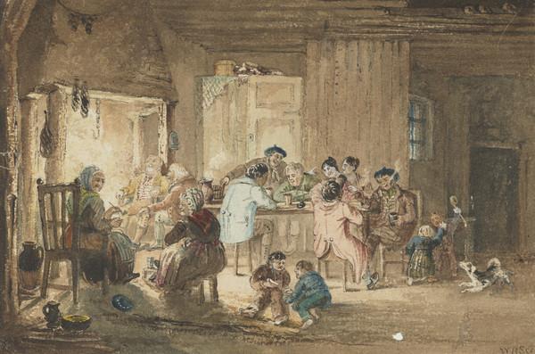 Scottish Cottage Interior (Dated 1834)