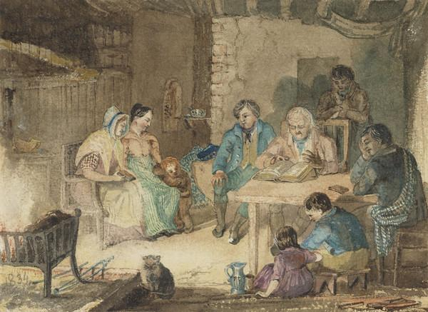 Illustration to the 'Cottar's Saturday Night' by Robert Burns (Dated 1834)