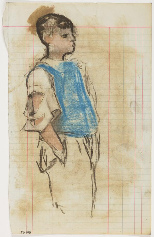 Boy with a Torn Shirt and Blue Sleeveless Jumper