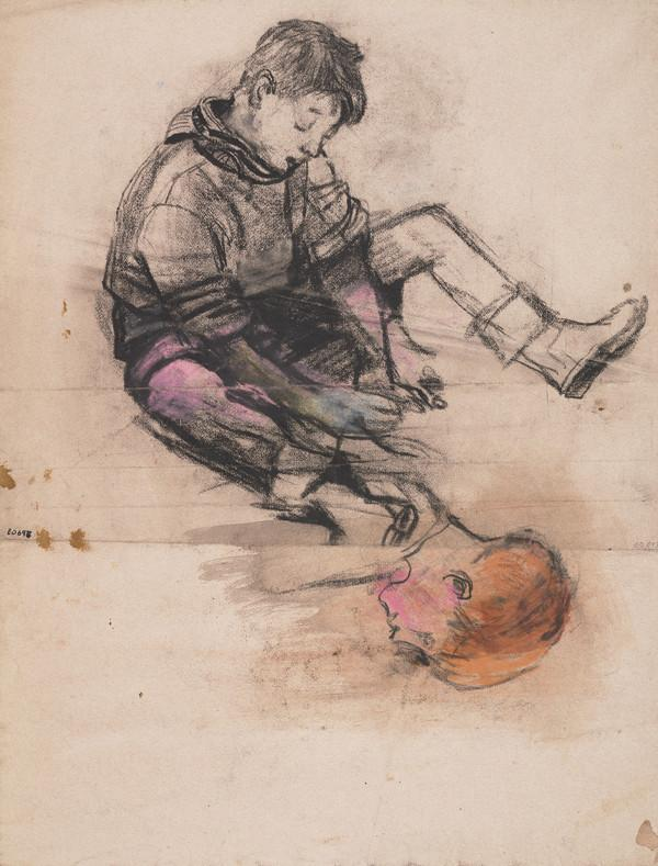 Seated Boy and Head of a Red-haired Boy