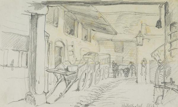 Courtyard of a Stable, Whitechapel, London (Dated 1842)
