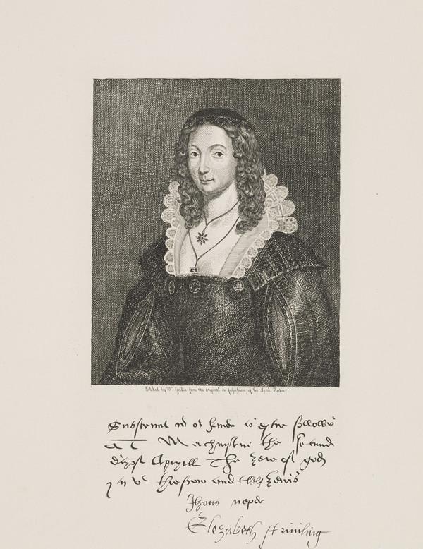 Elizabeth Stirling, about 1527 - 1579. Daughter of James Stirling of Keir; wife of John Napier of Merchiston