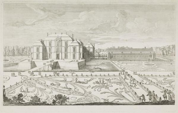A Palace and Stable Complex Surrounded by a Moat with extensive Gardens and Parterres