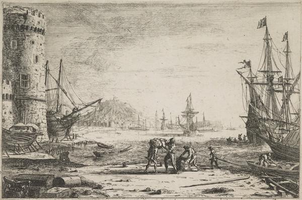 Seaport with a Large Tower (About 1641)