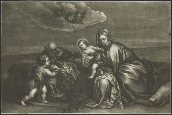 Holy Family with the infant St John the Baptist holding a lamb (1665 - 1675)
